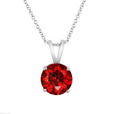 Platinum Red Diamond Solitaire Pendant Necklace, Anniversary Gift, Certified 1.01 Carat Handmade