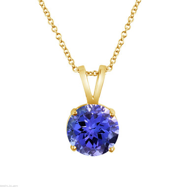 Tanzanite Solitaire Pendant Necklace, 14k White Gold or Yellow Gold 1.02 Carat Certified Handmade Birthstone