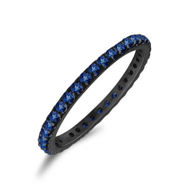 0.60 Carat Sapphire Eternity Wedding Band, Vintage Anniversary Ring, Stackable 14K Black Gold Certified Handmade