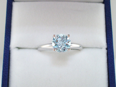 Platinum Aquamarine Solitaire Engagement Ring 1.01 Carat Certified Handmade