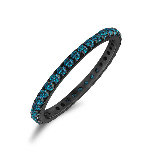 0.56 Carat Blue Diamond Eternity Wedding Band, Anniversary Ring, Stackable 14K Black Gold Handmade