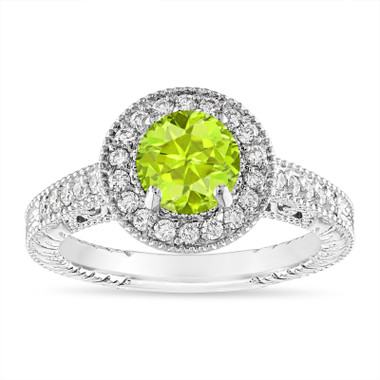 Peridot and Diamond Halo Engagement Ring Unique Vintage 14K White Gold 1.30 Carat Certified Handmade