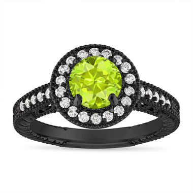Peridot and Diamond Halo Engagement Ring Unique Vintage 14K Black Gold 1.30 Carat Certified Handmade
