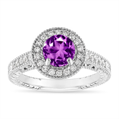 Amethyst and Diamond Halo Engagement Ring Unique Vintage 14K White Gold 1.30 Carat Certified Handmade