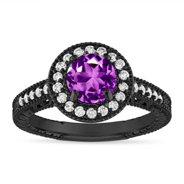 Amethyst and Diamond Halo Engagement Ring Unique Vintage 14K Black Gold 1.30 Carat Certified Handmade