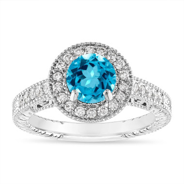 Blue Topaz and Diamond Halo Engagement Ring Unique Vintage 14K White Gold or Rose Gold 1.30 Carat Certified Handmade
