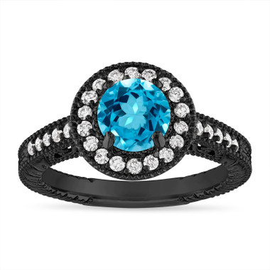 Blue Topaz and Diamond Halo Engagement Ring Unique Vintage 14K Black Gold 1.30 Carat Certified Handmade