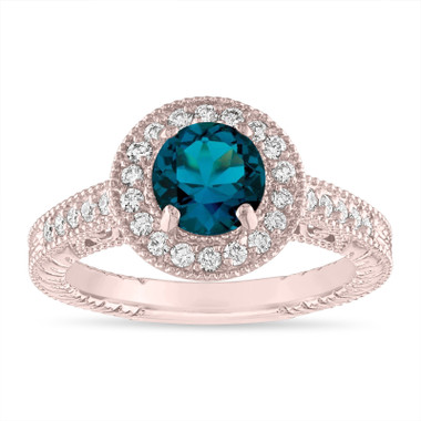 London Blue Topaz and Diamond Engagement Ring Unique Halo Vintage 14K White Gold or Rose Gold 1.30 Carat Certified Handmade