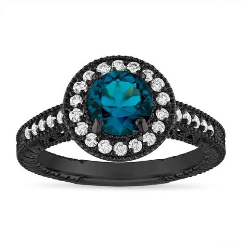 London Blue Topaz and Diamond Engagement Ring Unique Halo Vintage 14K Black Gold 1.30 Carat Certified Handmade