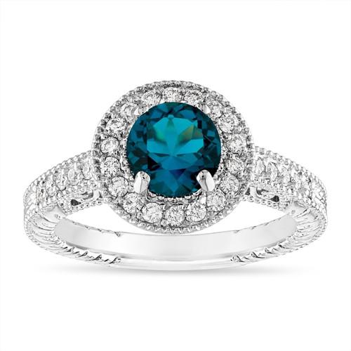 Platinum London Blue Topaz and Diamond Engagement Ring, Unique Halo Vintage 1.30 Carat Certified Handmade