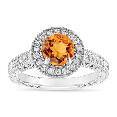 Citrine and Diamond Halo Engagement Ring Unique Vintage 14K White Gold 1.30 Carat Certified Handmade