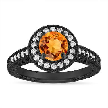 Citrine and Diamond Halo Engagement Ring Unique Vintage 14K Black Gold 1.30 Carat Certified Handmade