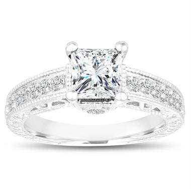Princess Cut Moissanite And Diamond Engagement Ring, Vintage 1.55 Carat 14k White Gold Unique Antique Style Pave Handmade