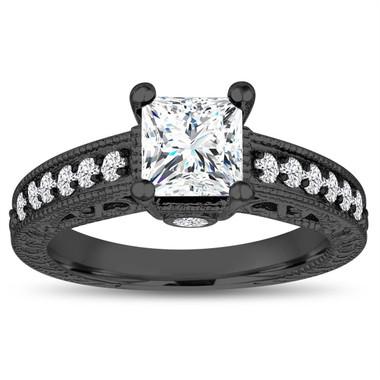 Princess Cut Moissanite Engagement Ring, Vintage 1.55 Carat 14k Black Gold Unique Antique Style Pave Handmade