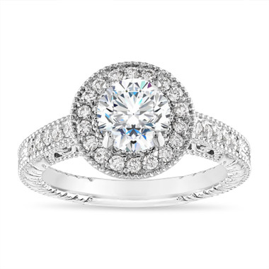 Moissanite Halo Engagement Ring Unique Vintage 14K White Gold 1.32 Carat Certified Handmade
