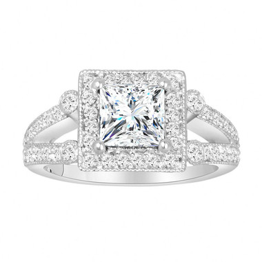 1.75 Carat Princess Cut Moissanite And Diamond Engagement Ring, 14k White Gold Unique Halo Pave Certified Handmade