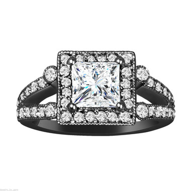 1.75 Carat Princess Cut Moissanite And Diamond Engagement Ring, 14k Black Gold Unique Halo Pave Certified Handmade