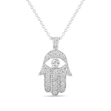 Hamsa Diamond Pendant, Large Hamsa Diamond Necklace, Evil Eye 1.00 Carat 14K White Gold, Rose Gold, Yellow Gold Unique Handmade