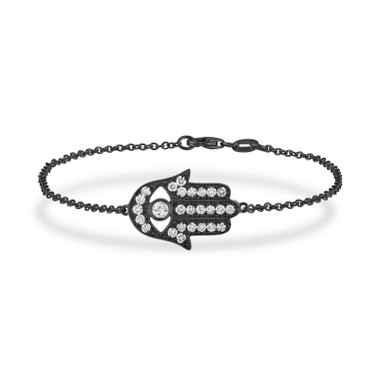 Hamsa Diamond Bracelet, Large Hamsa Bracelet, Evil Eye Bracelet, 0.93 Carat 14K Black Gold Unique Handmade