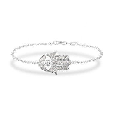 Hamsa Diamond Bracelet, Large Hamsa Bracelet, Evil Eye Bracelet, 0.93 Carat 14K White Gold Or Rose Gold Unique Handmade