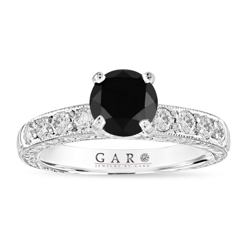 1.59 Carat Black Diamond Hand Engraved Engagement Ring Vintage Style 14K White Gold Unique Handmade