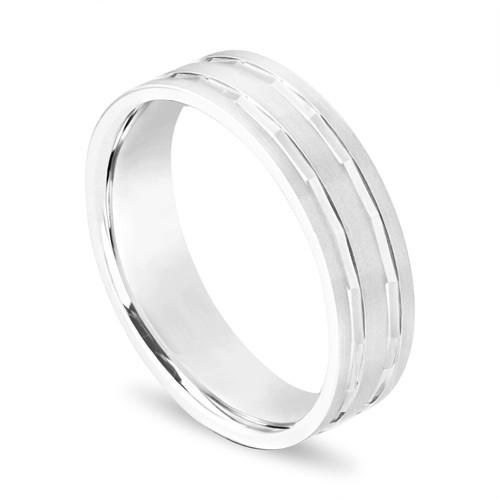 Mens Wedding Band, Vintage Mens Wedding Ring, 14K White Gold 6 mm Handmade