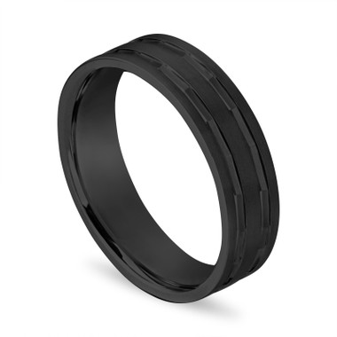 Black Gold Mens Wedding Band, Vintage Mens Wedding Ring, 6 mm Handmade