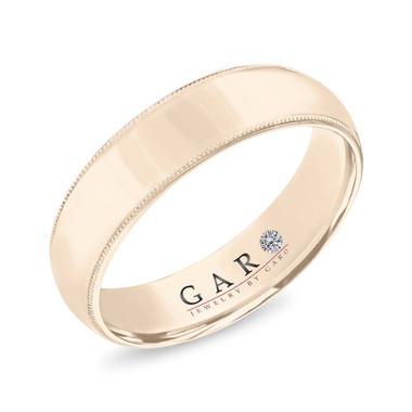 Milgrain Mens Wedding Band, Vintage Wedding Ring, 14K White Gold or Yellow Gold or Rose Gold 6 mm Handmade