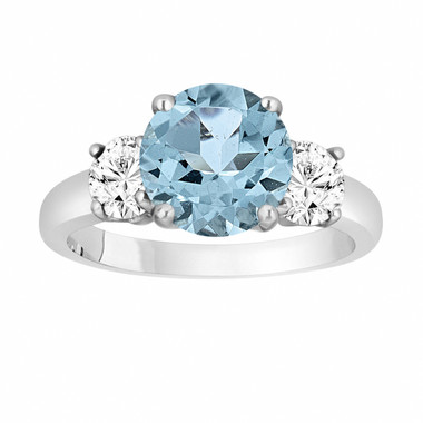 Aquamarine and Diamonds Three-Stone Engagement Ring, Vintage Style 14k White Gold 2.40 Carat Certified Unique Handmade