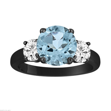 Aquamarine and Diamonds Three-Stone Engagement Ring, Vintage Style 14k Black Gold 2.40 Carat Certified Unique Handmade