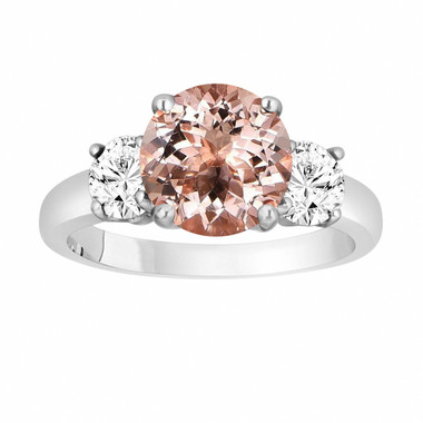 Morganite and Diamonds Three-Stone Engagement Ring, Vintage Style 14k White Gold 2.40 Carat Certified Unique Handmade