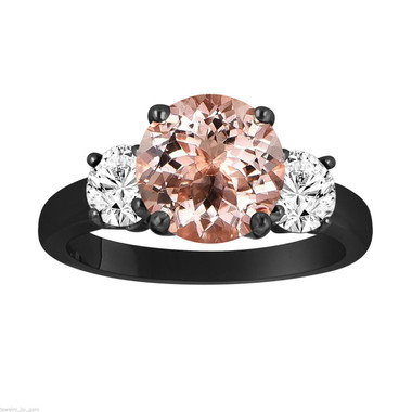 Morganite and Diamonds Three-Stone Engagement Ring, Vintage Style 14k Black Gold 2.40 Carat Certified Unique Handmade