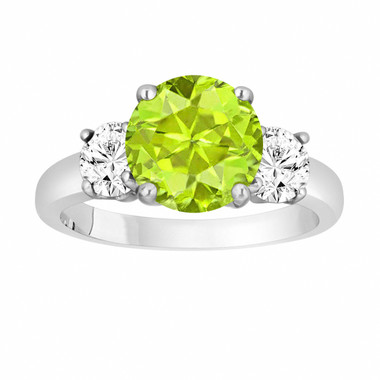 Peridot and Diamonds Three-Stone Engagement Ring, Vintage Style 14k White Gold 2.30 Carat Certified Unique Handmade