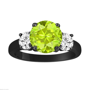 Peridot and Diamonds Three-Stone Engagement Ring, Vintage Style 14k Black Gold 2.30 Carat Certified Unique Handmade