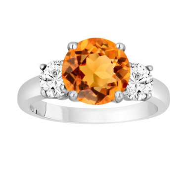Citrine and Diamonds Three-Stone Engagement Ring, Vintage Style 14k White Gold 2.30 Carat Certified Unique Handmade