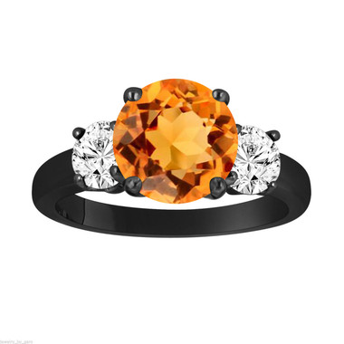 Citrine and Diamonds Three-Stone Engagement Ring, Vintage Style 14k Black Gold 2.30 Carat Certified Unique Handmade