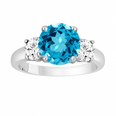 Blue Topaz and Diamonds Three-Stone Engagement Ring, Vintage Style 14k White Gold 2.30 Carat Certified Unique Handmade