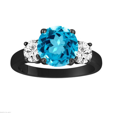 Blue Topaz and Diamonds Three-Stone Engagement Ring, Vintage Style 14k Black Gold 2.30 Carat Certified Unique Handmade