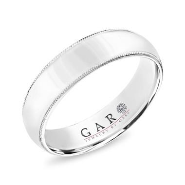 Platinum Milgrain Mens Wedding Band, Vintage Wedding Ring, 6 mm Handmade