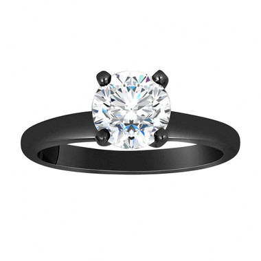 1.52 Carat Moissanite Engagement Ring, Solitaire Wedding Ring Vintage Style 14K Black Gold Handmade