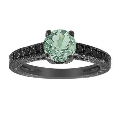 Green Sapphire Engagement Ring, 14K Black Gold Vintage Style 1.25 Carat Antique Style Engraved Certified Handmade Unique
