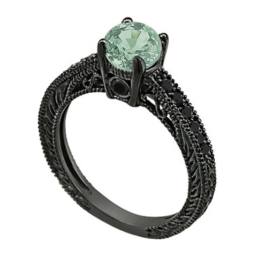 0.85 Carat Green Sapphire Engagement Ring, 14K Black Gold Vintage Style Antique Style Engraved Certified Handmade Unique