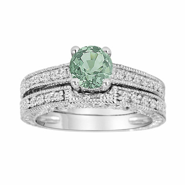 1.26 Carat Green Sapphire and Diamonds Engagement Ring and Wedding Band Sets 14K White Gold Antique Vintage Style Engraved