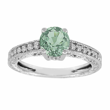 1.15 Carat Green Sapphire and Diamonds Engagement Ring 14K White Gold Antique Vintage Style Engraved