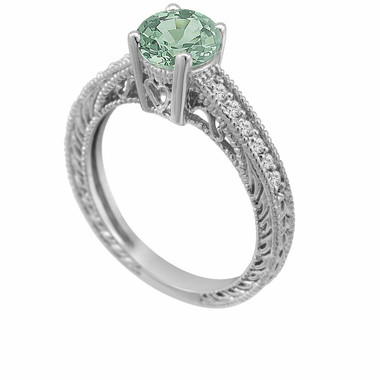 0.75 Carat Green Sapphire Engagement Ring 14K White Gold Unique Antique Vintage Style Engraved Certified