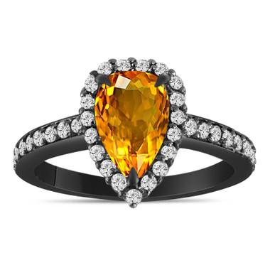 Pear Shaped Citrine Engagement Ring 1.70 Carat 14k Black Gold Vintage Style Unique Handmade Certified