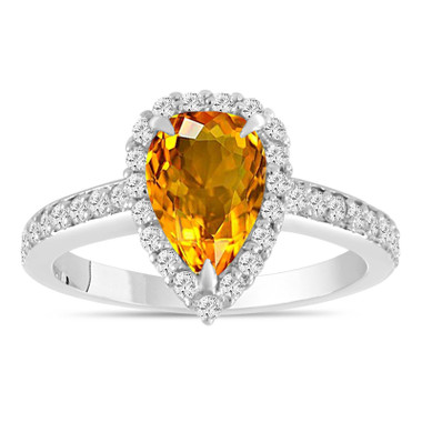 Pear Shaped Citrine Engagement Ring 1.70 Carat 14k White Gold Unique Handmade Certified