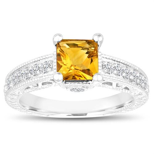 1.40 Carat Princess Cut Citrine Engagement Ring, Wedding Ring, 14k White Gold Unique Handmade Certified