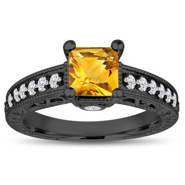 1.40 Carat Princess Cut Citrine Engagement Ring, Wedding Ring, 14k Black Gold Unique Vintage Antique Style Handmade Certified