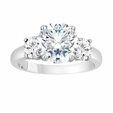 Moissanite Three-Stone Engagement Ring, Moissanite Wedding Ring, Vintage Style 14k White Gold 2.28 Carat Certified Handmade